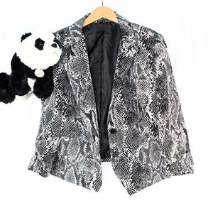 Black, white Express snake print blazer jacket